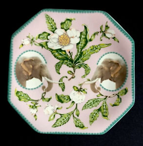 "Lou Rota  for Anthropologie ""Nature Table"" ELEPHANTS & Flowers Plate 8.5"""