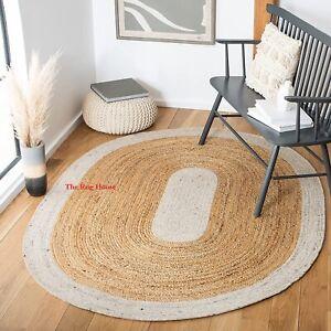 Rug 100% Natural Jute Reversible Oval Rug Modern Living Area Carpet Kitchen Rug