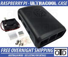 Raspberry Pi 3 & Pi 2 Ultra Cool Case + Ultra Quiet Fan + Heat Sink Kit - BLACK