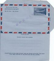 Stamp Australia aerogramme 10d overseas service jet issue SPECIMEN overprint
