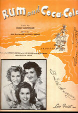 """ANDREWS SISTERS Sheet Music """"Rum And Coca-Cola"""" 1944"""