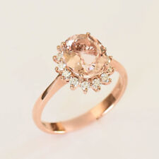 MORGANITE RING 2.69ct GENUINE DIAMONDS 18K ROSE GOLD SIZE P VALUATION $4950 NEW