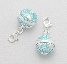 Solid Sterling Silver Enamel Globe Charm Bracelet Pendant Necklace Lobster Clasp
