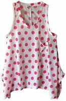 NWT Tillys YMI  tank pink white polk a dots pocket tunic flared waist Size XL