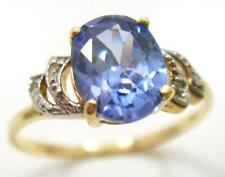 SYJEWELLERY FINE 9CT YELLOW GOLD OVAL NATURAL IOLITE & DIAMOND RING SIZE N R1412