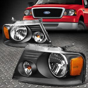 FOR 04-08 FORD F150 LINCOLN MARK LT BLACK HOUSING AMBER CORNER HEADLIGHT LAMPS