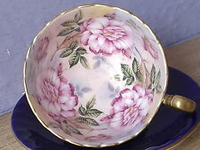 Vintage Aynsley bone china large pink roses oban tea cup, Blue English teacup