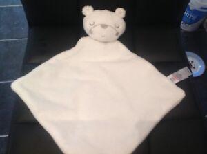 George Asda Sleepy Teddy Bear White Comforter Doudou Blankie Blanket x 3