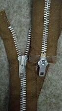 "1-ZIPPER/USA Vtg NOS/TALON#5Metal-Aluminum28""/2-WAY Separating LT.BROWN"