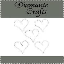 5 Clear Diamante Hearts  Vajazzle Rhinestone Body Art Self Adhesive Gems