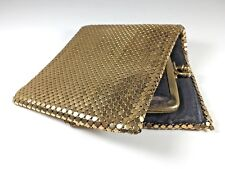 Vintage Whiting & Davis Gold Metal Mesh Wallet Change Purse USA Mid Century