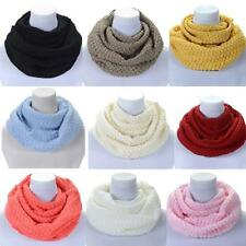 Women Winter gift  Warm Infinity 2 Circle Cable Knit Cowl Neck Long Scarf Shawl