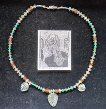 Unique Hand Beaded Necklace with Crystal, Glass and Leaf Pendants Aventurine