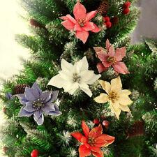 10 Pcs Glitter Christmas Flower Wreath Tree Hanging Ornaments Xmas Decor Gift