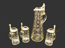 FANTASTIC RARE GERMAN ETCHED GLASS GNOME TANKARD & THREE MUG SET – CIRCA 1880