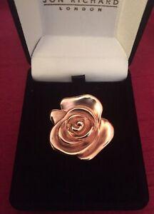 Vintage Italian Designer 14k 14ct Rose Gold Flower Brooch Pendant Hallmarked.