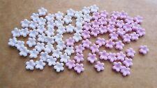 100 Commestibile Pasta di Zucchero Tiny FIORE blossoms decorazioni per cupcake-BABY ROSA E BIANCO