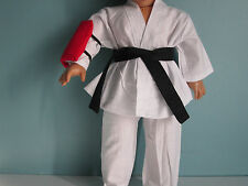 4-piece KARATE/MARTIAL ARTS OUTFIT: Black Belt & Red Kick Pad fits American Girl