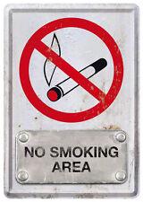 Retro Tin Metal Postcard 'NO SMOKING AREA' Mini Sign 10 x 14cm Steel-look design