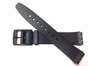Plastic Resin Replacement Watch Strap for SWATCH SKIN - 16mm Black Ultra Thin