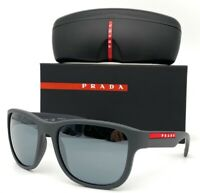Prada Linea Rossa PS 01US UFK5L0 Gray Rubber / Gray Mirror 59mm Sunglasses