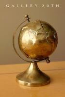 COOL! SMALL DESK BRASS GLOBE! WORLD VTG MAP ATOMIC NY PENTHOUSE RETRO 1940s 50s