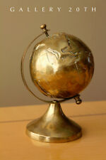 COOL! SMALL DESK BRASS GLOBE! WORLD VTG MAP ATOMIC NY PENTHOUSE RETRO 1940s 50s