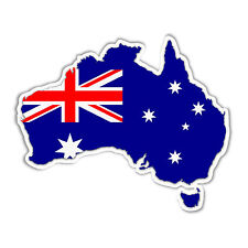 map of Australia with Australian flag Aussie vinyl sticker weatherproof 117 mm