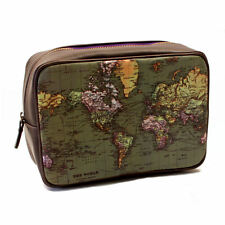 GREEN BROWN MAN OF THE WORLD WASH BAG RETRO VINTAGE MAP ATLAS TOILETRY TRAVEL GI
