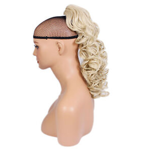 """17"""" PONYTAIL Clip in Hairpiece CURLY Light Blonde #613 Claw Clip"""