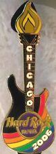 Hard Rock Hotel CHICAGO 2006 GAY PRIDE PIN Rainbow Flag Guitar Gay Games #33693