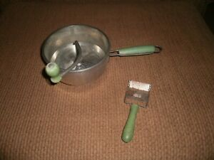 Vintage FOLEY Food Mill W/Green Wood Handle Masher Sieve Canning & Cheese Slicer