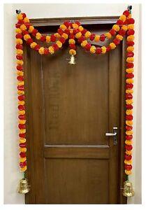 Artificial Marigold Fluffy Flower Garlands Door Hanging Toran for decoration