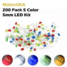 200 Pack 5mm 5 Color Red Green Blue Yellow White LED Light Emitting Diode Kit
