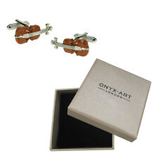 Mens Brown Violin Muscian Cufflinks & Gift Box By Onyx Art