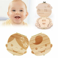 Baby Boys Girls Keepsake Wood Tooth Fairy Box Milk Teeth Organizer Storage Box