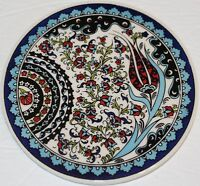 "Round 6 1/2"" Turkish Iznik Tulip & Floral Pattern Ceramic Hot Plate Trivet Tile"