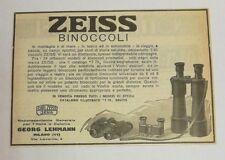 Pubblicità epoca 1922 ZEISS BINOCOLI JENA LEHMANN advertising publicitè reklame
