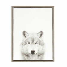 Sylvie Wolf Black and White Portrait Gray Framed Canvas Wall Art by Simon Te Tai
