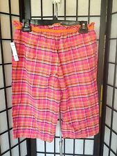 On Stage Women's Size Small Pink & Orange Plaid Sleepwear Bottoms Shorts NWT
