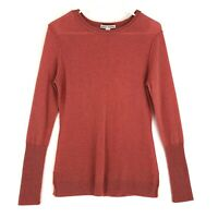 Autumn Cashmere Sweater Womens M Melon Coral Crew Neck Long Sleeve Layered Hem