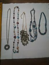 Vintage lot of 5 costume jewelry necklaces. Green and blue tone, beads,stones