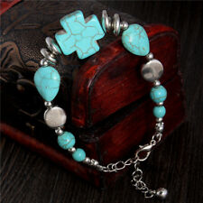 New Tibetan Silver Turquoise Charm Cross Crucifix Religion Bracelet Bangle Gift