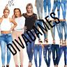 DIVADAMES Womens Ripped Knee Skinny Jeans Faded Slim Fit Ladies Denim Size 6-16