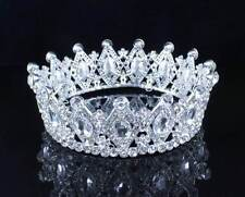 STUNNING FULL CROWN CLEAR AUSTRIAN CRYSTAL RHINESTONE TIARA PAGEANT BRIDAL T1927