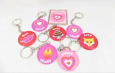 Cute Key Rings, Two Cute by Two's Company Lot of 8 Round Metal Fun Sayings