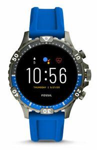 Fossil Garrett HR Gen 5 46mm Smoke Case with Blue Silicone Strap Smart Watch...