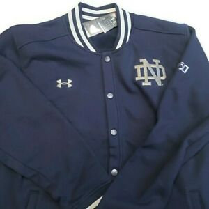 Under Armour Notre Dame Fighting Irish Varsity Jacket Snap Button Mens Size 2XL