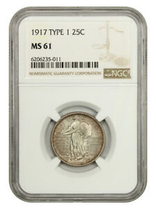 1917 Type 1 25c NGC MS61 - Popular One Year Type Coin - Standing Liberty Quarter