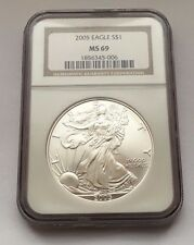 2005 SILVER EAGLE NGC MS69 ONE DOLLAR COIN